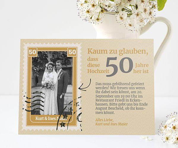 Einladungskarten zur Goldenen Hochzeit - edel & zeitlos